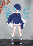 (9) 1girl absurdres bad_id bad_pixiv_id baseball_cap blue_eyes blue_footwear blue_hair bow choker cirno dress earrings food full_body hair_ornament hat highres holding hood hoodie jewelry long_sleeves looking_at_viewer popsicle red_string sei_ichi_(shiratamamikan) shoe_bow shoes short_dress short_hair smile socks solo standing string touhou white_legwear
