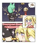 +_+ 2girls :d absurdres animal_ears bell black_kimono blonde_hair blue_eyes blush blush_stickers cat_ears chinese_text closed_eyes comic commentary_request english_text fireworks green_hair greenteaneko greenteaneko-chan happy_new_year heart heart-shaped_pupils highres japanese_clothes jingle_bell kimono multiple_girls new_year one_side_up open_mouth original red_kimono smile sparkle sparkler symbol-shaped_pupils what