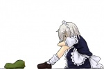 1girl bags_under_eyes commentary_request depressed hat izayoi_sakuya maid profile ribbon seki_(red_shine) sitting solo tears touhou white_background