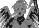 1girl bodysuit breastplate gun handgun headgear holding holding_gun holding_weapon licking licking_weapon lips long_hair looking_at_viewer mechanical_halo mechanical_wings mercy_(overwatch) monochrome open_mouth overwatch ponytail simple_background solo staff teeth tongue tongue_out turtleneck upper_body weapon white_background wings