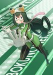 1girl :> anarchojs asui_tsuyu black_eyes black_footwear bodysuit boku_no_hero_academia boots breasts commentary_request copyright_name eyebrows_visible_through_hair frog_girl full_body gloves goggles goggles_on_head green_footwear green_hair hair_between_eyes hair_rings highres large_breasts long_hair long_tongue looking_at_viewer low-tied_long_hair skin_tight solo thigh_boots thighhighs tongue tongue_out white_gloves