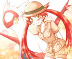1girl asato hat latias personification pokemon pokemon_special red_hair shorts twintails yellow_eyes