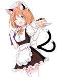 1girl animal_ears apron blush brown_eyes brown_hair cake cat_ears chen commentary_request dress ear_piercing eyebrows_visible_through_hair food frilled_dress frills garter_straps highres holding holding_object holding_tray looking_at_viewer maid_apron maid_headdress multiple_tails one_eye_closed open_mouth piercing ribbon shiisuu_rattamu short_hair solo tail thighhighs touhou tray two_tails yellow_ribbon