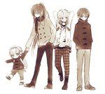 4boys :o anzu_(o6v6o) arms_behind_head arms_up bangs brown cameo character_print child closed_mouth coat cross-laced_footwear double-breasted earmuffs frown full_body gachapin glasses gumiya hair_between_eyes hair_over_one_eye hand_in_pocket hands_in_pockets hirake!_ponkikki holding_hands hood hood_down hooded_jacket jacket jewelry kamui_gakupo leaning_forward leg_up legs_apart lily_(vocaloid) long_hair long_sleeves looking_at_another looking_at_viewer looking_away looking_down looking_to_the_side male_focus monochrome multiple_boys one_eye_covered open_clothes open_jacket outstretched_arm pants pendant plaid plaid_pants ponytail ryuuto_(vocaloid) scarf shoe_soles simple_background smile smirk standing standing_on_one_leg striped suspenders turtleneck vertical-striped_pants vertical_stripes very_long_hair vocaloid white_background