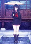 1girl black_hair black_legwear black_serafuku blue_eyes caidychen collarbone commentary_request derivative_work eyebrows_visible_through_hair full_body highres holding holding_umbrella loafers long_hair long_sleeves looking_at_viewer md5_mismatch neckerchief original outdoors parasol pleated_skirt school_uniform serafuku shoes skirt snowing solo standing umbrella