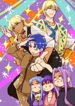 3boys 3girls anger_vein angry atram_galiast black_pants black_sweater black_vest blonde_hair blue_eyes blue_hair bracelet brown_clothes caster dark_skin fabulous fate/grand_order fate/stay_night fate_(series) gakuran glasses hand_on_head hand_on_own_face jason_(fate/grand_order) jewelry kettle21 long_hair looking_at_viewer matou_sakura matou_shinji multiple_boys multiple_girls necklace one_eye_closed outstretched_arms pants pink_sweater pointing puffy_sleeves purple_clothes purple_hair rider school_uniform smile sparkle sparkle_background sweater turtleneck vest waistcoat wavy_hair white_clothes