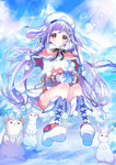 1girl ahoge animal blue_sky boots braid breath bunny capelet cup day glacier gloves gyakushuu_no_fantasica hat highres long_hair looking_at_viewer mug official_art outdoors pom_pom_(clothes) purple_hair rassie_s red_eyes sitting sky snow snowflakes sparkle sunlight watermark white_boots white_gloves white_hat