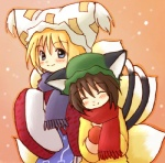 2girls animal_ears blue_eyes blush cat_ears cat_tail chen closed_eyes coat eijima_moko fox_tail happy hat lowres mittens multiple_girls multiple_tails scarf smile tail touhou winter_clothes yakumo_ran