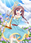 1girl :d blue_dress blush braid brown_hair cloud cross cross_necklace day dress eyebrows_visible_through_hair flower haradaiko_(arata_himeko) head_tilt holding holding_instrument hoshizaki_rika hydrangea instrument jewelry leaning_to_the_side long_hair long_sleeves looking_at_viewer low_twintails neckerchief necklace open_mouth outdoors rainbow raramagi sailor_dress sky smile solo sparkle standing sunlight trombone twin_braids twintails