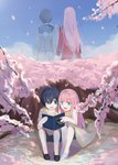 1boy 1girl absurdres bangs bare_shoulders black_footwear black_hair blue_eyes blue_sky book cherry_blossoms chu_dengdeng cloud cloudy_sky collarbone commentary_request couple darling_in_the_franxx day dual_persona eyebrows_visible_through_hair green_eyes hetero highres hiro_(darling_in_the_franxx) holding holding_book holding_hands huge_filesize long_hair long_sleeves military military_uniform no_socks open_book open_mouth petals pink_hair purple_footwear shirt shoes short_hair shorts sitting sky sleeveless sleeveless_shirt tree uniform white_footwear white_shirt younger zero_two_(darling_in_the_franxx)