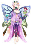 3girls barefoot blonde_hair braid breasts fairy fairy_(monster_girl_encyclopedia) fairy_wings flower full_body hair_flower hair_ornament highres horns kenkou_cross large_breasts long_hair minigirl monster_girl monster_girl_encyclopedia multiple_girls navel no_panties pixie_(monster_girl_encyclopedia) pointy_ears purple_eyes simple_background smile titania_(monster_girl_encyclopedia) very_long_hair white_background wings
