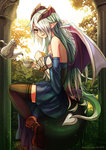 1girl bare_shoulders boots brown_legwear cup demon_tail detached_sleeves green_hair hair_over_one_eye horns lilim_(monster_girl_encyclopedia) long_hair monster_girl monster_girl_encyclopedia pointy_ears rocknroll sitting solo tail tea teacup teapot thighhighs very_long_hair wings