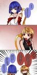 2girls 3koma alternate_costume aoshima bangs bare_shoulders black_dress black_vest blonde_hair blue_hair bow chair closed_mouth collarbone comic commentary_request dress eating emphasis_lines empty_eyes fang food food_in_mouth frills from_behind gradient gradient_background hair_ribbon hand_up hidden_eyes highres looking_at_viewer meat mouth_hold multiple_girls no_hat no_headwear off-shoulder_dress off_shoulder pink_lips red_background red_bow red_eyes red_ribbon remilia_scarlet ribbon rumia shaded_face shiny shiny_skin short_hair simple_background sitting sleeveless smile speech_bubble touhou translation_request trembling tsurime upper_body vest white_background white_dress