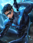 1boy abs black_hair chain dc_comics domino_mask gloves male_focus mask nightwing sakimichan short_hair skin_tight solo superhero toned watermark web_address