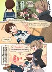 4girls ayanami_(kantai_collection) bangs between_breasts black_shirt bow breasts comic commentary_request dated english engrish eyebrows_visible_through_hair flight_deck h_k_white hair_bow head_between_breasts highres intrepid_(kantai_collection) kantai_collection large_breasts long_hair midriff multiple_girls neck_pillow panties partially_translated pleated_skirt ranguage school_uniform serafuku shikinami_(kantai_collection) shirayuki_(kantai_collection) shirt short_hair short_ponytail short_sleeves short_twintails side_ponytail skirt speech_bubble translation_request twintails twitter_username underwear uniform very_long_hair white_panties