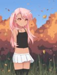 1girl aposine arms_behind_back autumn autumn_leaves bangs bare_shoulders black_legwear camisole chloe_von_einzbern dark_skin day fate/kaleid_liner_prisma_illya fate_(series) highres long_hair looking_at_viewer midriff miniskirt navel orange_eyes outdoors parted_lips pink_hair skirt smile solo thighhighs white_skirt wind zettai_ryouiki