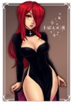 1girl black_dress breasts character_name cleavage cleavage_cutout cowboy_shot cross dress eyebrows_visible_through_hair eyeshadow hair_over_one_eye highleg highleg_dress iahfy lips long_dress long_hair makeup medium_breasts no_panties parasoul_(skullgirls) pelvic_curtain red_hair side_slit skullgirls solo thighs yellow_eyes