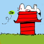 amaterasu artist_request charles_schulz_(style) doghouse issun no_humans ookami_(game) parody peanuts sleeping style_parody