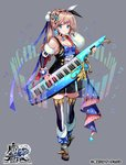 1girl black_dress blue_bow blue_eyes boots bow breasts choker cleavage copyright_name detached_sleeves dress earrings full_body fur-trimmed_boots fur-trimmed_sleeves fur_trim grey_background hair_ornament hair_pom_pom hair_ribbon holding holding_instrument hoshino_kanade instrument jewelry keytar light_brown_hair logo long_hair long_sleeves looking_at_viewer musical_note nail_polish official_art pink_nails pisuke pom_pom_(clothes) ponytail ribbon simple_background smile standing the_caster_chronicles thighhighs transparent two-tone_legwear zettai_ryouiki