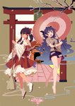 2girls :d absurdres ascot bangle bangs bare_legs bare_shoulders barefoot black_footwear black_hair blue_bow blue_eyes blue_hair blue_neckwear blue_skirt blush bow bracelet branch breasts broom brown_background brown_eyes building cherry_blossoms debt detached_sleeves drawstring frilled_bow frilled_shirt_collar frills full_body grey_hoodie hair_bow hair_tubes hakurei_reimu highres holding holding_broom holding_stuffed_animal holding_umbrella hood hoodie jewelry long_hair long_sleeves looking_at_another looking_up miniskirt multiple_girls open_mouth oriental_umbrella outline parted_lips petals petticoat ponytail red_bow red_skirt red_umbrella ribbon-trimmed_sleeves ribbon_trim sandals sarashi shide short_sleeves sidelocks skirt skirt_set small_breasts smile socks stuffed_animal stuffed_cat stuffed_toy thighs torii touhou translation_request tuck umbrella very_long_hair white_legwear white_outline wide_sleeves yorigami_shion