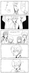 ! 5koma ? akemi_homura bag bow charlotte_(madoka_magica) closed_eyes comic doujinshi genderswap grin hair_bow hair_ribbon highres kaname_madoka kurono_yuu mahou_shoujo_madoka_magica miki_sayaka monochrome open_mouth personification plastic_bag ribbon sakura_kyouko sketch smile surprised tomoe_mami translated