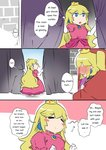 2girls blush blush_stickers bowsette comic commentary crown curtains dress earrings engrish jewelry long_hair mario_(series) multiple_girls new_super_mario_bros._u_deluxe princess_peach ranguage sesield super_crown under_covers window