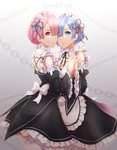 2girls apron asymmetrical_docking blue_eyes blue_hair breast_press breasts character_name cheek-to-cheek cleavage detached_sleeves frills hair_ornament hair_over_one_eye highres holding_hands maid maid_apron multiple_girls pink_eyes pink_hair ram_(re:zero) re:zero_kara_hajimeru_isekai_seikatsu rem_(re:zero) ribbon siblings thighs twins white_legwear white_ribbon wide_sleeves x_hair_ornament y.i._(lave2217)