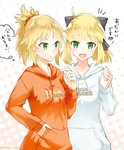 2girls :d ahoge artoria_pendragon_(all) black_bow blonde_hair bow buster_shirt extra_attack_shirt eyebrows_visible_through_hair fate/apocrypha fate/grand_order fate/unlimited_codes fate_(series) green_eyes hair_bow hair_ornament hair_scrunchie hand_in_pocket high_ponytail hood hood_down hooded_sweater long_hair looking_at_viewer mordred_(fate) mordred_(fate)_(all) multiple_girls open_mouth orange_sweater print_sweater red_scrunchie saber_lily scrunchie shiny shiny_hair smile standing sweater touru_10ru twitter_username upper_body white_sweater