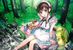 1girl :d apron backpack bag black_bow blue_dress bow breasts brown_hair day dress food forest grass hair_ornament handkerchief looking_at_viewer maid_apron maid_headdress medium_breasts mochiko_(mochiko3121) nature obentou onigiri open_mouth outdoors picnic rock shoes_removed short_sleeves short_twintails sitting smile soaking_feet solo stream sweatdrop thermos tree twintails wrist_cuffs x_hair_ornament yellow_backpack