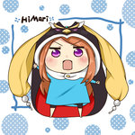 1girl akiyama_(52hotaru) animal_hood barefoot brown_hair character_name chibi crossover himouto!_umaru-chan hood long_hair mawaru_penguindrum open_mouth parody penguin_hood princess_of_the_crystal pun purple_eyes seizon_senryaku solo style_parody takakura_himari