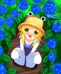 1girl blonde_hair blush dress field flower flower_field hat loki_78 long_sleeves moriya_suwako open_mouth purple_dress shirt sitting smile solo squatting thighhighs touhou wide_sleeves yellow_eyes