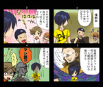 1girl 4boys 4koma amada_ken blue_eyes blue_hair blush blush_stickers brown_eyes brown_hair closed_eyes comic glasses hair_over_one_eye hat ikutsuki_shuuji iori_junpei kirita_(noraring) koromaru long_hair multiple_boys one_eye_closed persona persona_3 persona_4 smile takeba_yukari translation_request yuuki_makoto