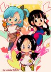 3girls :d >:o annoyed bangs black_gloves black_hair blue_eyes blue_hair blush boots bulma chi-chi_(dragon_ball) chibi chinese_clothes clenched_hands denim dragon_ball dragon_ball_(classic) dragon_ball_z eyelashes eyes_visible_through_hair fighting_stance fingerless_gloves floating_hair frown full_body gloves hand_on_hip heart heart_background highres index_finger_raised jeans leg_up looking_away motunabe707070 multiple_girls open_mouth orange_gloves pants shirt short_hair side_ponytail smile sparkle sparkle_background torn_clothes torn_jeans torn_pants twintails twitter_username v-shaped_eyebrows videl white_shirt wristband
