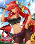 animal_ears bibyo bike_shorts black_shorts blue_sky braided_ponytail breasts cat_ears cat_tail company_name copyright_name dark_skin day fang flower hair_flower hair_ornament hand_on_hip jacket large_breasts long_hair midriff navel official_art outdoors red_eyes sengoku_bushouki_muramasa shorts sky standing string_of_flags tail track_jacket very_long_hair watermark
