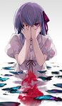 1girl blood bug butterfly covering_face eyebrows_visible_through_hair fate/stay_night fate_(series) gradient gradient_background grey_background hair_ribbon hirai_yuzuki insect looking_at_viewer matou_sakura partially_submerged pink_eyes puffy_short_sleeves puffy_sleeves purple_hair ribbon short_hair short_sleeves solo water white_background