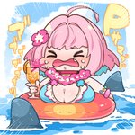 1girl ahoge bikini blush breasts chibi choker cleavage closed_eyes commentary crying cup drink fang floating flower flower_necklace food fruit holding holding_cup idolmaster idolmaster_cinderella_girls innertube jewelry juice large_breasts necklace open_mouth orange orange_juice partially_submerged pink_hair shark shark_fin short_hair solo swimsuit takatoo_kurosuke translated water wavy_mouth yumemi_riamu