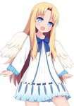 1girl :d angel_wings bangs blonde_hair blue_bow blue_eyes blush bow collarbone commentary_request dress eyebrows_visible_through_hair feathered_wings firo_(tate_no_yuusha_no_nariagari) forehead head_tilt highres long_hair long_sleeves open_mouth parted_bangs sidelocks simple_background sleeves_past_wrists smile solo tate_no_yuusha_no_nariagari very_long_hair white_background white_dress white_wings wings xiaosamiao
