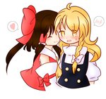 2girls ^_^ ahoge blonde_hair blouse bow braid brown_hair closed_eyes cuddling d: detached_sleeves embarrassed hair_bow hair_tubes hakurei_reimu half_updo heart hug imminent_kiss kirisame_marisa large_bow long_hair multiple_girls open_mouth puffy_short_sleeves puffy_sleeves sarashi short_sleeves side_braid sidelocks single_braid smile solo_focus spoken_blush spoken_heart sweat touhou turtleneck user_kojitan vest yellow_eyes yuri