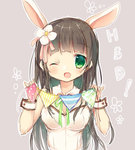 1girl ;d animal_ears bangs blunt_bangs blush breasts brown_hair bunny_ears bunny_girl bunnysuit cleavage comic commentary_request detached_collar eyebrows_visible_through_hair flower gochuumon_wa_usagi_desu_ka? green_eyes green_neckwear grey_background hair_flower hair_ornament highres holding leotard long_hair looking_at_viewer medium_breasts miyuki_yuno neck_ribbon one_eye_closed open_mouth outline pink_ribbon ribbon sketch smile solo string_of_flags ujimatsu_chiya upper_body white_collar white_flower white_leotard white_outline wing_collar wrist_cuffs
