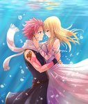 1boy 1girl blonde_hair breasts bubble closed_eyes dress earrings fairy_tail highres hug jewelry leonstar long_hair lucy_heartfilia natsu_dragneel pink_hair scarf short_hair sideboob smile spiked_hair tattoo underwater white_dress white_scarf