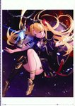 1girl absurdres ankle_boots anklet artist_name bangs bare_legs birdcage black_dress black_legwear blonde_hair blush boots breasts cage cape chain cleavage closed_mouth dark_background dress ereshkigal_(fate/grand_order) eyebrows_visible_through_hair fate/grand_order fate_(series) full_body fur-trimmed_cape fur_trim glowing hair_ribbon highres jewelry lens_flare long_hair long_sleeves looking_at_viewer page_number parted_bangs petals red_eyes red_ribbon ribbon scan short_dress single_detached_sleeve single_thighhigh skirt skull small_breasts smile solo spine supertie tassel thighhighs thighs tiara twintails two_side_up very_long_hair white_border yellow_footwear