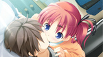 1boy 1girl blue_eyes couple dutch_angle faceless faceless_male game_cg hair_ribbon hetero highres kiss musical_note nonomiya_ai red_hair ribbon shunki_gentei_poco_a_poco! side_ponytail takoyaki_(roast)