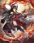 1girl architecture bare_shoulders black_gloves black_hair breasts china_dress chinese_clothes dress east_asian_architecture elbow_gloves fire flower glint gloves hair_flower hair_ornament holding holding_sword holding_weapon horns jacket jacket_removed long_hair looking_at_viewer original outdoors red_dress red_eyes redamon small_breasts smile solo standing sword thighhighs very_long_hair weapon white_legwear yellow_footwear