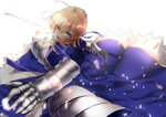ahoge armor armored_dress artoria_pendragon_(all) bangs blonde_hair blue_dress braid chest_armor commentary_request dress excalibur eyebrows_visible_through_hair fate_(series) french_braid gauntlets green_eyes hair_between_eyes hair_bun holding holding_sword holding_weapon looking_at_viewer open_mouth pirapirapirapira saber sidelocks sword weapon