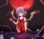 1girl arm_strap black_ribbon black_wings breasts chain cleavage dress eyebrows_visible_through_hair food fruit full_moon hair_between_eyes hanen_(borry) head_tilt highres holding holding_fruit moon night outdoors purple_hair red_dress red_moon red_ribbon remilia_scarlet ribbon short_hair skull sleeveless sleeveless_dress small_breasts solo standing torn_wings touhou wading wings wrist_ribbon