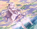1girl bangs bare_shoulders black_ribbon blush breasts closed_eyes cloud cloudy_sky dutch_angle emilia_(re:zero) eyebrows_visible_through_hair facing_viewer fantasy floating_hair flower frilled_sleeves frills hair_flower hair_ornament hair_ribbon head_tilt light_particles long_hair long_sleeves medium_breasts melings_(aot2846) miniskirt open_mouth outdoors pleated_skirt pointy_ears purple_sky re:zero_kara_hajimeru_isekai_seikatsu ribbon rose shirt sidelocks silver_hair skirt skirt_pull sky smile soaking_feet solo standing thighhighs upper_teeth v_arms very_long_hair wading water white_flower white_legwear white_shirt white_skirt wide_sleeves zettai_ryouiki