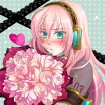 1girl blush flower happy_birthday haruka_(maake) long_hair megurine_luka pink_hair rose solo tears vocaloid