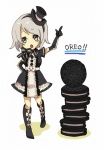 1girl bad_id bad_pixiv_id cookie copyright_request elbow_gloves food gloves gothic_lolita hat kiris kneehighs lolita_fashion oreo personification ribbon socks solo white_hair