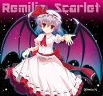 15_(tooka) 1girl ascot bat_wings bow brooch character_name dress dress_lift hat hat_bow jewelry lavender_hair outstretched_hand red_eyes remilia_scarlet solo star touhou wings