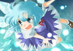 1girl blue_dress blue_eyes blue_hair bow cirno dress fairy hair_bow ice mary_janes mitsuna open_mouth ribbon shoes short_hair smile socks solo touhou white_legwear wings